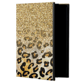 Cute girly trendy yellow gold faux glitter leopard