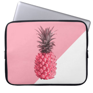 Cute girly tropical pink and white pineapple laptop sleeve