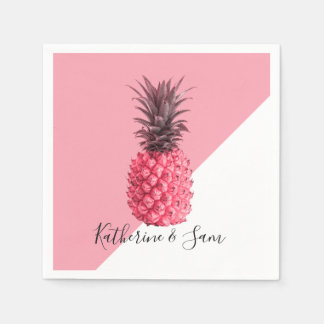 Cute girly tropical pink and white pineapple paper napkin
