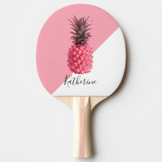 Cute girly tropical pink and white pineapple ping pong paddle