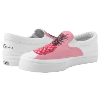 Cute girly tropical pink and white pineapple slip on shoes