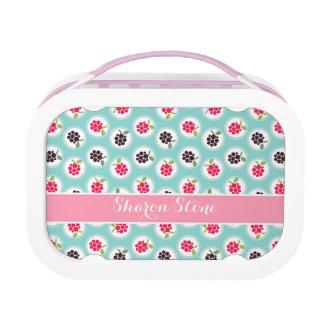 Cute girly turquoise raspberry patterns monogram lunchbox
