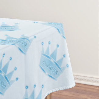 Cute Glitter Baby Blue Crown Prince Custom Tablecloth