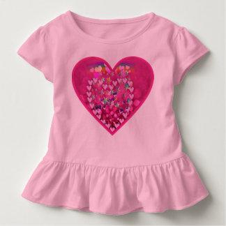 Cute glitter heart toddler ruffle t-shirt