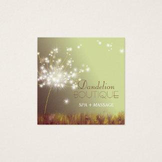 Cute Glittery Autumn Dandelions Square Business Card