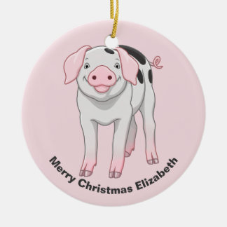 Cute Gloucestershire Old Spots Pig Ceramic Ornament