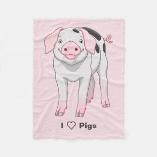 Cute Gloucestershire Old Spots Pig Fleece Blanket