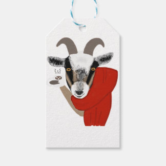 Cute Goat Drinking Hot Chocolate Gift Tags