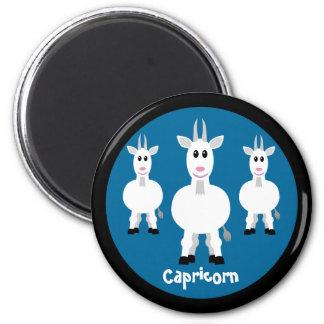 Cute Goats Capricorn Zodiac Sign Custom Blue 6 Cm Round Magnet