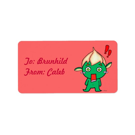 Cute Goblin with a flower on his head Address Label