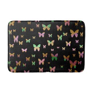 cute gold and rose gold faux foil butterflies bath mat