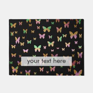 cute gold and rose gold faux foil butterflies doormat