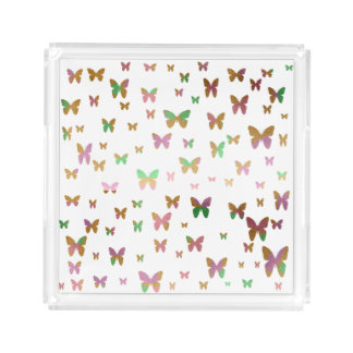 cute gold and rose gold foil butterfly pattern acrylic tray