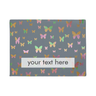 cute gold and rose gold foil butterfly pattern doormat