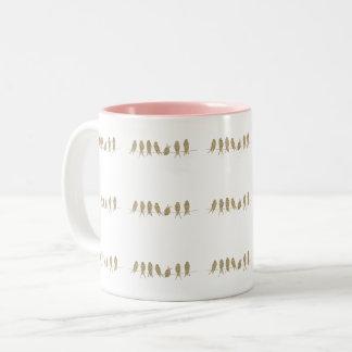 Cute Gold Birds on a Wire Coffee Tea Mug