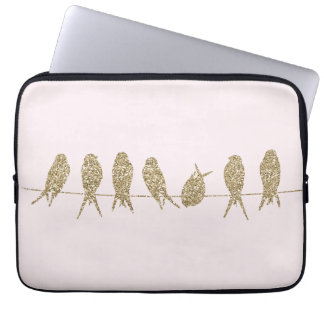 Cute Gold Birds on a Wire Laptop Computer Sleeve