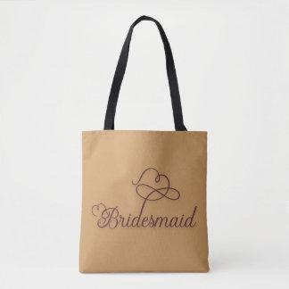 Cute Gold Burgundy Bridesmaid Tote Bag