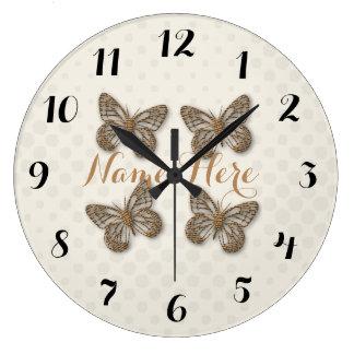 Cute Gold Butterflies Cream Dots Name Wall  Clock