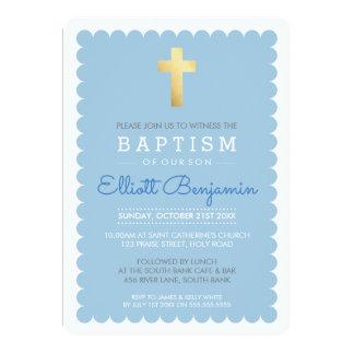 CUTE GOLD CROSS modern baptism scalloped edge blue 13 Cm X 18 Cm Invitation Card