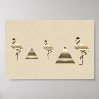 Cute Gold Flamingo Poster