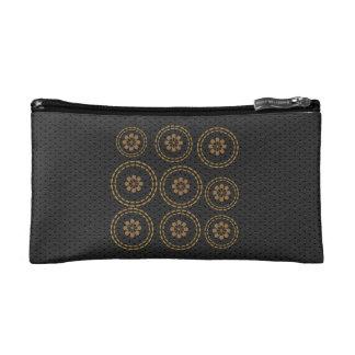 Cute Gold Flowers Snowflake Black Leather Look Bag Cosmetic Bag