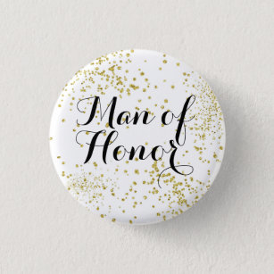 Cute Gold Glitter Man of Honour 3 Cm Round Badge