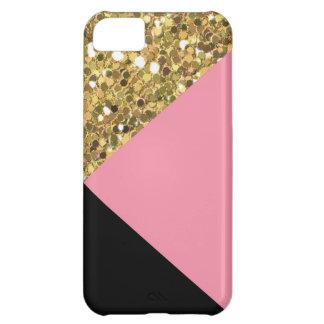 Cute Gold Glitter, Pink, & Black iPhone 5C Case