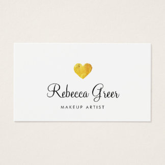 Cute Gold Heart Modern Beauty Consultant White Business Card