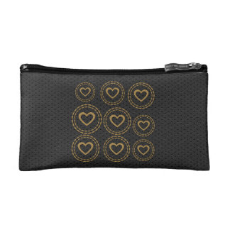 Cute Gold Hearts Black Leather Look Bag Cosmetic Bags