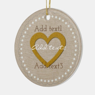 Cute Gold Linen Sweet Heart Baby Kids Round Ceramic Decoration