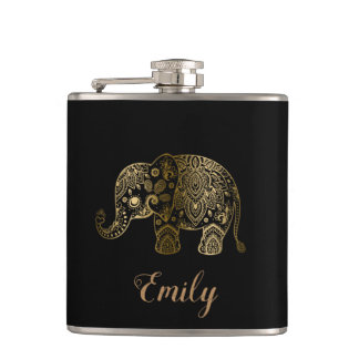 Cute Gold Paisley Elephant Hip Flask