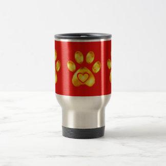 Cute Gold Paw Travel Mug