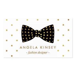 Cute Gold Polka Dots Ribbon Bow Business Card Template