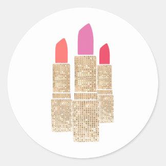 Cute Gold Sequin Lipstick Makeup Artist Beauty Round Sticker