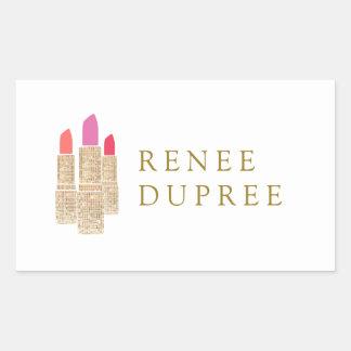 Cute Gold Sequin Lipstick Makeup Artist Beauty Rectangular Sticker