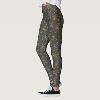 Cute Gold Snowflake Blk Christmas Holiday Leggings