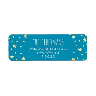 Cute Gold Stars + Blue Return Address Label