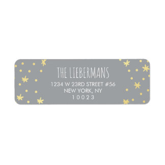 Cute Gold Stars Return Address Label | Holiday