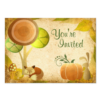 Cute Golden Autumn Woodland Animals Birthday Party Card