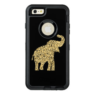 cute golden elephant confetti dots OtterBox defender iPhone case