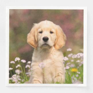 Cute Golden Retriever Dog Puppy Face Animal Photo Disposable Napkin