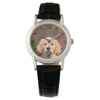 Cute Golden Retriever Dog Puppy Face -- dial-plate Watch
