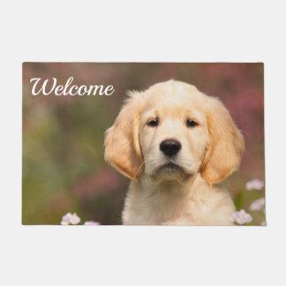 Cute Golden Retriever Dog Puppy Face Photo Welcome Doormat