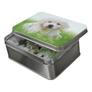 Cute Golden Retriever Puppy Dog Green Grass Jigsaw Puzzle