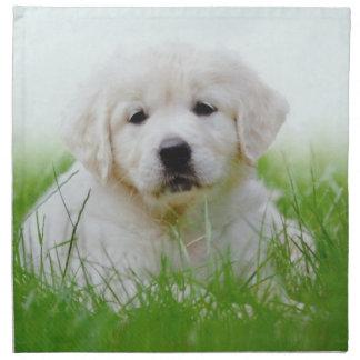 Cute Golden Retriever Puppy Dog Green Grass Napkin