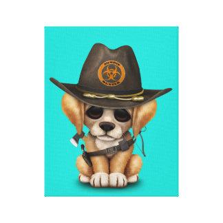 Cute Golden Retriever Puppy Zombie Hunter Canvas Print