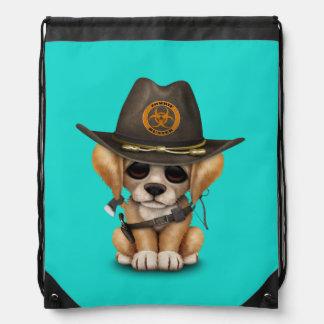Cute Golden Retriever Puppy Zombie Hunter Drawstring Bag