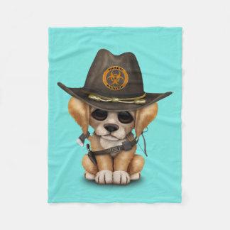 Cute Golden Retriever Puppy Zombie Hunter Fleece Blanket