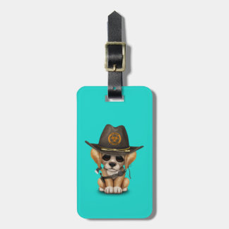 Cute Golden Retriever Puppy Zombie Hunter Luggage Tag