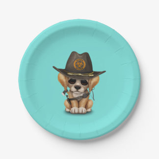 Cute Golden Retriever Puppy Zombie Hunter Paper Plate